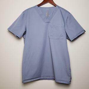 JAANUU Grey 2 Pocket V Neck Scrub Top
